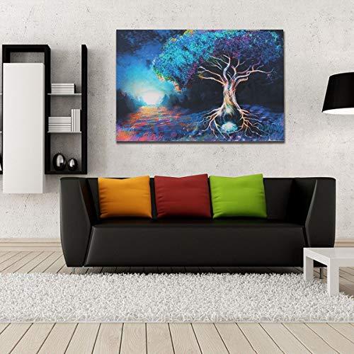 hetingyue Bosque de fantasía Pintura Colorida Pintura de fantasía Sala de Estar Dormitorio Sala de Estar Colgante Anime Art Poster Pintura sin Marco 30x45cm