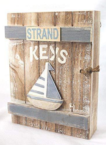Holzdekoration Schlüsselbox Strand Holz 24 cm Sand/Hellblau Schlüsselkasten