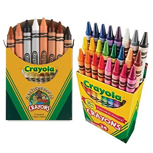 Crayola Multicultural Crayons Assorted, Non-Toxic Box of 8, Bundled With a Box of 24 Crayola Crayons