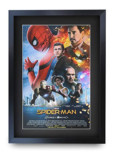 HWC Trading Spiderman A3 Enmarcado Regalo De Visualización De Fotos De Impresión De Imagen Impresa Autógrafo Firmado por Tom Holland Ventiladores del Cartel De Película