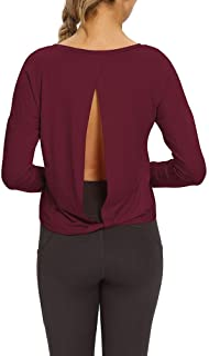 Mippo قمصان التمرين طويلة الأكمام للنساء مفتوحة الظهر اليوغا بلايز الملابس الرياضية