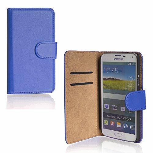 Funda con tapa azul para Samsung Galaxy S5 i9600 funda trasera azul