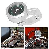 Qqmora Reloj de Montaje Reloj antichoque Resistente al Sol Reloj de Esfera Resistente a Golpes para Triciclo para ciclomotores(Silver)