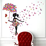 Kibi Flores Hada Mariposas Pared Adhesivos Pegatinas Decorativas Pared Mariposas Adhesivo para las Niñas Habitación de Niño Wall Stickers Salón Dormitorio