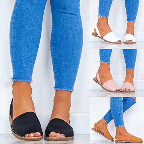 Sytaun Sommer Frauen Kunstleder Fisch Mundband Sandalen Hausschuhe Strand Flache Schuhe Mode Retro Damen Sandalen Rosa 37