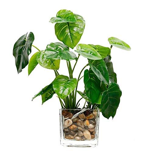 Montague Mond0 Gefälschte Grass Simulation Bonsai Topf Künstliche Pflanzen Blatt Mit Glaskanne Grüner Klee Home Decoration (Color : Apple Leaf)