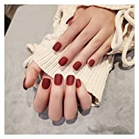 DINGGUANGHE 24個/箱入りのワインの赤い短いマットの偽ネイル毎日の身に着けている爪の上のプレスをプレスする女の子DIYのためのアクリルのネイル製品