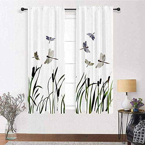"""Room Darkening Curtains 63 inch Length, Country Decor Thermal Insulated Curtains 72"""" x 63"""" - Flying Small Dragonflies Over Tall Reeds Botanical Environmental Artisan Graphic Work, Purple Green"""