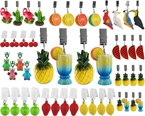 My-goodbuy24 Tischdeckenbeschwerer mit Klammer - 4er Set - Tischdeckenhalter Garten Tischdeckenklammern Tischtuch Clips - Polystone - Cocktail mit Ananas