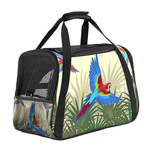 Tropical Bird Leaves Pet Carrier Bag, Portable Tote Bag Top Opening, Removable Mat And Breathable Mesh, Transport Handbag For Dogs And Cats