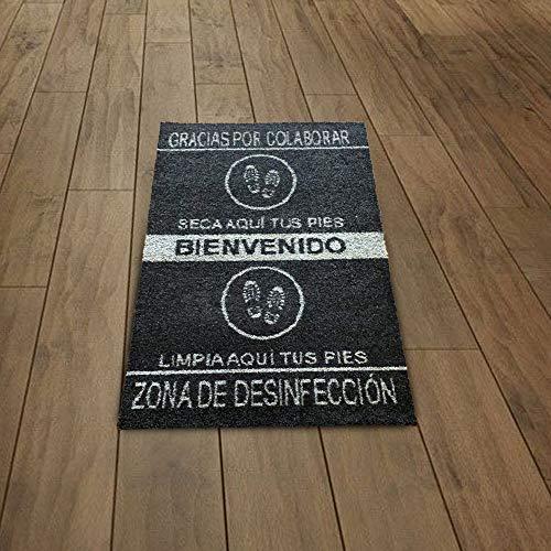 SML Alfombra-Felpudo desinfectante para Entrada hogar y Negocio,Limpia Zapatos,Antideslizante y Lavable.Medida 60x85cm...
