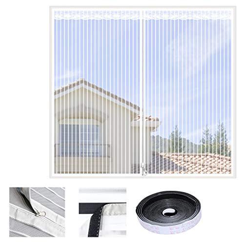 Qianc klamboe raam gaas plakken installatie vliegengaas magneetgordijn wit strepen