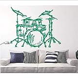 Set Drums Silhouette Mural De Pared Inicio Sala De Estar Decoración De Moda Instrumento Musical Batería Set Kits Etiqueta De Pared Calidad 57 * 62.Cm