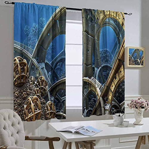 Mozenou Fractal Curtain Kitchen Window Watch Circles in a Deep Sink Ocean Like Futuristic Imaginative Fictional Art Print The Best Choice for Bedroom and Living Room 55x45 Inch Multicolor