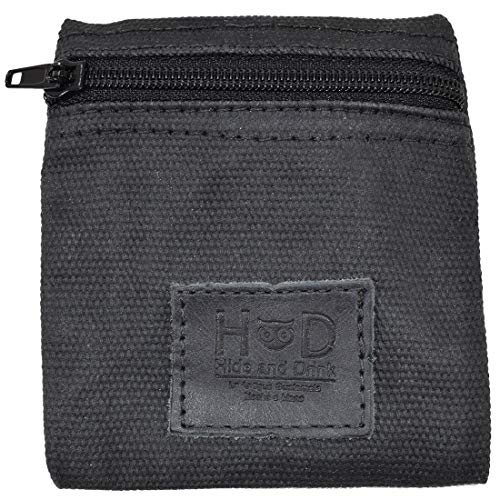 Hide & Drink Tasche, gewachstes Leinen, für Wechselutensilien, handgefertigt, Anthrazit / Schwarz