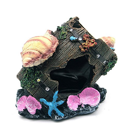 UEETEK Aquarium Höhle Brücke mit Muschel für Aquarium Dekoration Schildkröte Terrarium