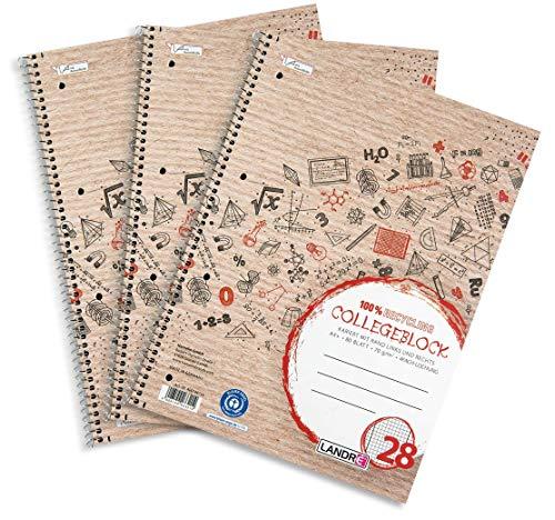 Landré Collegeblock A4 Recycling, kariert, 80 Blatt, 3er Pack, 400153863