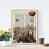 Nacnic Lámina Ciudad de Cadiz. Estilo Vintage. Ilustración, fotografía y Collage con la Historia DE Cadiz. Poster tamaño A4 Impreso en Papel