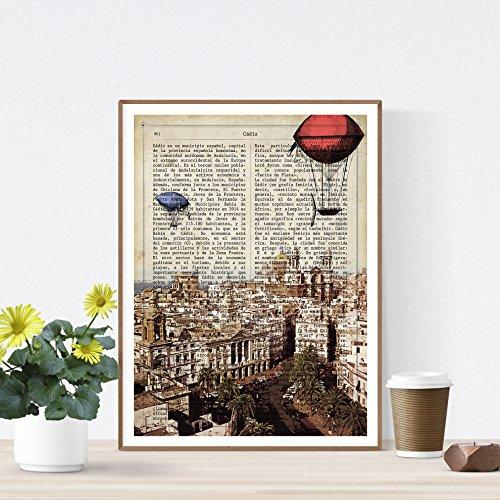 Nacnic Lámina Ciudad de Cadiz. Estilo Vintage. Ilustración, fotografía y Collage con la Historia DE Cadiz....