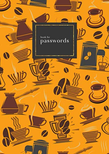 Book for Passwords: B6 Small Internet Address Notebook with A-Z Alphabetical Index   Coffee Maker Cup Bean Design   Orange