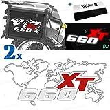2 adhesivos compatibles con maletas laterales para XT 660 Tener para maletas originales y Touratech All y Givi Trekker Outback (blanco-rojo)