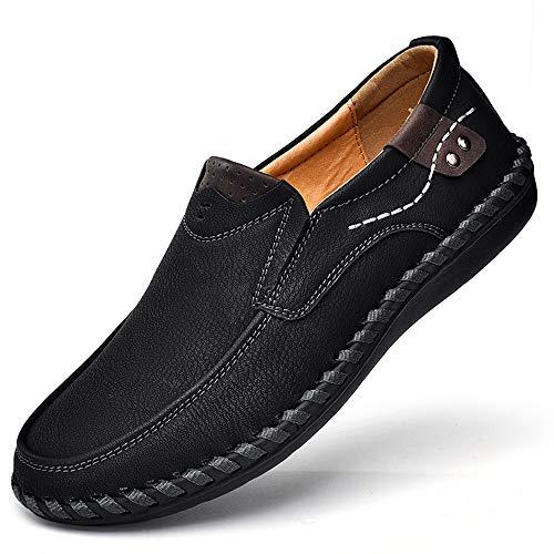 LIEBE721 Mocasines Hombres Casuales Holgazanes Slip On Plano Cuero Loafers Casual Zapatos de Conducción Zapatillas Zapatos de Vestir