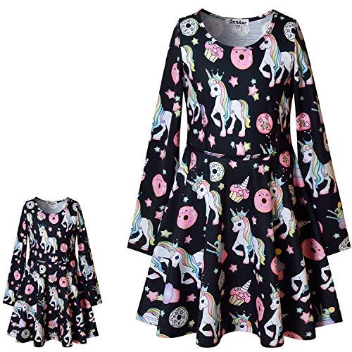 Unicorn Dresses for Girls & Doll 18 inch Long Sleeve Fall Winter Dresses,Size 6 7