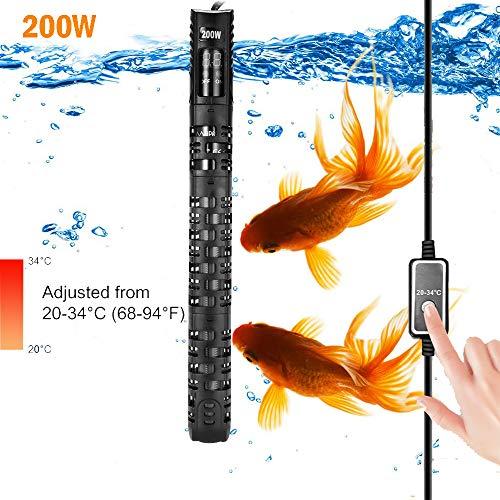 Allomn verwarmer voor aquarium, automatische verwarmer voor aquarium, warmer, 20-34 °C, temperatuur verstelbaar met zuignap, bescherming voor aquarium 50-350 l, 200W 80-150L