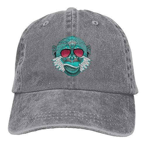 AOHOT Herren Damen Baseball Caps,Hüte, Mützen, Classic Baseball Cap, Monkey Yoga India Denim Hat Adjustable Male Dad Baseball Hat