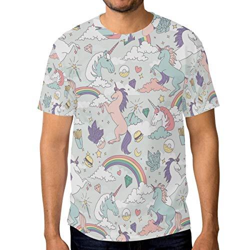 DEZIRO - Camiseta de Manga Corta para Hombre, diseño de Unicornios y arcoíris 1 L