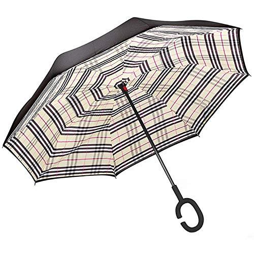 Mastercanopy Invertierter Regenschirm, doppelschichtig, winddicht, Teflon-Abwehr-Regenschirm für Auto und Außenbereich, UPF 50 + großer Stockschirm mit C-förmigem Griff und Tragetasche inverted umbrella Burberry Plaid