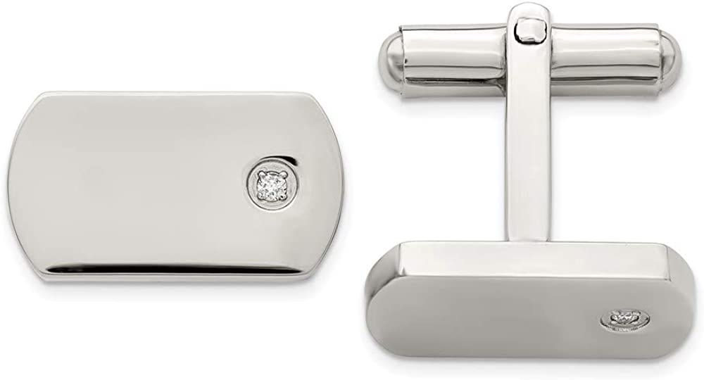 Lex and Lu Chisel Stainless Steel Diamond Accent Cuff Links 8mm