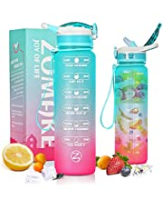 ZOMAKE Motivational Water Bottle 1L with Time Marker Straw BPA Free Non-Toxic , Leakproof and Portable Water Bottle for Fitness Gym Outdoor Sports and Lose Weight