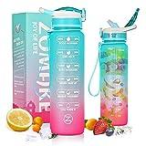 ZOMAKE 1000ml Wasserflasche, BPA Frei Auslaufsichere Motivations Trinkflasche mit Stroh für Sport und Fitness
