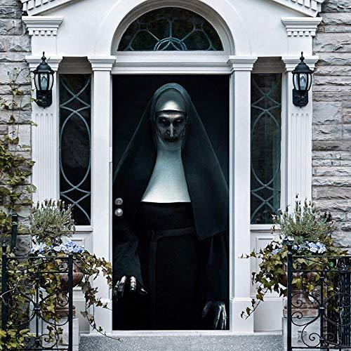 LUCKYYY 3D Wallpaper Halloween Ghost Nonne Kreative 3D Tür Aufkleber Persönlichkeit Dekoration Wandaufkleber Renovierung Wandaufkleber