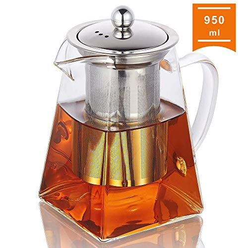 Glass Teapot with Infuser, 950ml/32oz Clear High Borosilicate Glass Tea Pot with Removable Tea Strainers for Loose Leaf Tea, Heat Resistant Loose Leaf Teapot, Microwavable and Stovetop Safe
