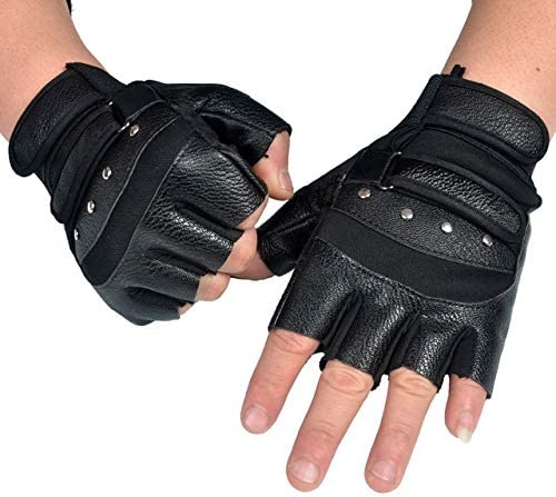 Winter Gloves Women New Style Fashion PU Leather Half-Finger Gloves Rivet Unisex Outdoor Sport Fitness Cycling Driving Mittens - (Color: Black)