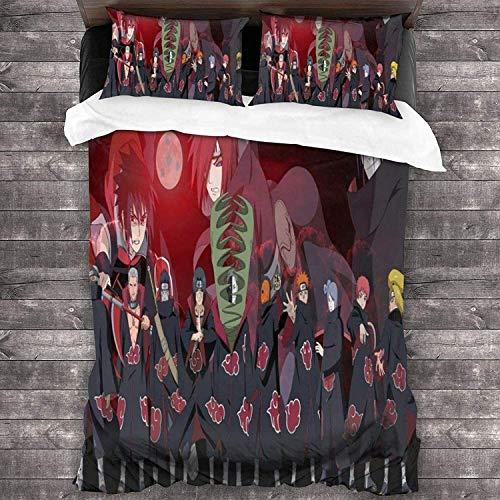 QWAS Naruto Duvet Cover, super suave y cómodo sin relleno, sin duvet, 1 funda de edredón y 2 fundas de almohada, juego de 3 piezas (L1,200 x 200 cm + 50 x 75 cm x 2)
