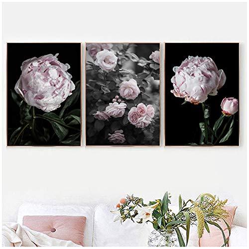 LWJZQT Romantici Fiori di peonia Rosa Quadri Moderni su Tela Poster Stampe Regalo di San Valentino Arte della Parete Camera da Letto Decorazioni per la casa 60x80 cm / 23,6