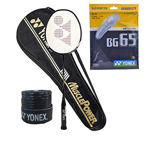 Yonex Muscle Power 29 Badminton Racquet (G4-88g) & Full Cover with BG 65 String 1Grip