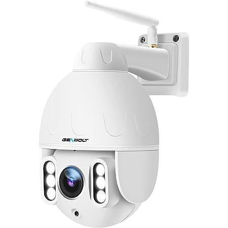【自動追跡+声光威嚇】防犯カメラ ワイヤレス 屋外 WiFi 暗視撮影 500万画素 光学5倍ズーム GENBOLT AI人体検知 監視カメラ ネットワークカメラ Ultra HD 1920P ドーム型 日本産 CMOS センサー プライバシー保護 PTZ 回転可能 ONVIF 国際防水規格 IP66音声通話 遠隔監視 動体検知警報 複数デバイスに接続 メールで画像を送る Micro SDカード録画対応(最大128GB) ARRAY赤外線LED搭載 30m暗視距離 日本語対応無料APP PSE認証&技適認証 一年品質保証 終生技術の支持 【5dBiアンテナWiFi強化版+32GB内蔵】
