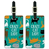Crazy Cat Lady Teal Orange Black Brown Luggage ID Tags Carry-On Cards - Set of 2
