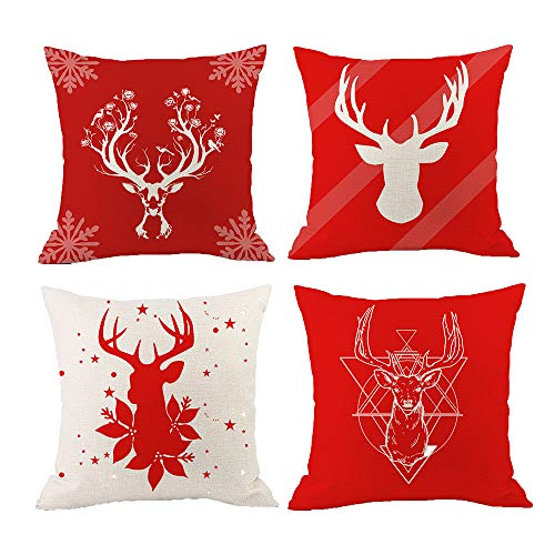 ZICHU Christmas Decorations Sale, 4PCS Merry Christmas Square Pillow Cases Linen Sofa Cushion Cover Pillow Case Xmas Decorative Decor Ornaments Home Party Decor Gifts for Kids Adults -18X18in