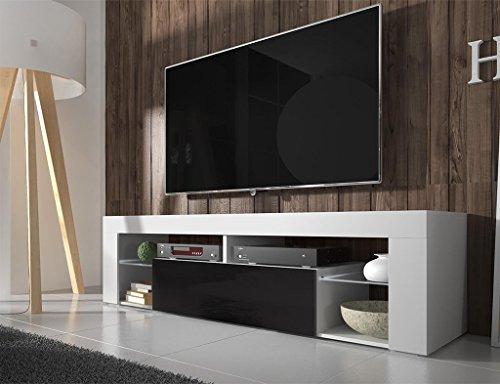 Selsey HUGO – Mobile TV con anta a ribalta, Bianco opaco/Nero lucido, 140 x 50.5 x 35 cm