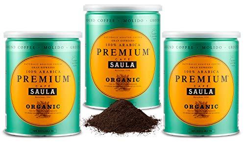 Café Saula, Pack 3 botes de 250 gr. Premium Ecológico 100% arábica molido
