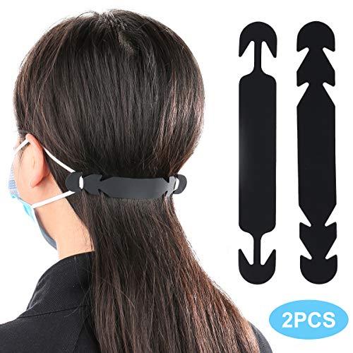 LOVMOV 2Pcs Silicone Anti-Slip Extension Hook Buckle Ear Grips Hook for Ear Protection Reusable 2 Gear Adjustable Extension Hook Ear Straps for Adults Children