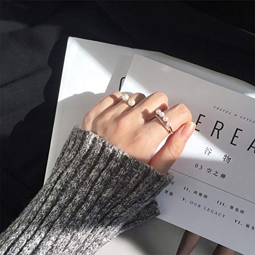 Deniferymakeup Trendy Boho 2 stks Rose Gold Ring Set Parel Ring Knuckle Ring Set Gezamenlijke Knuckle Ring Set voor Vrouwen en Meisjes Tieners