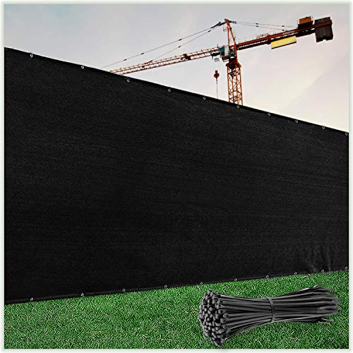 ColourTree 5' x 50' Black Fence Privacy Screen Windscreen Cover Fabric Shade Tarp Netting Mesh Cloth - Commercial Grade 170 GSM - Cable Zip Ties Included - We Make Custom Size