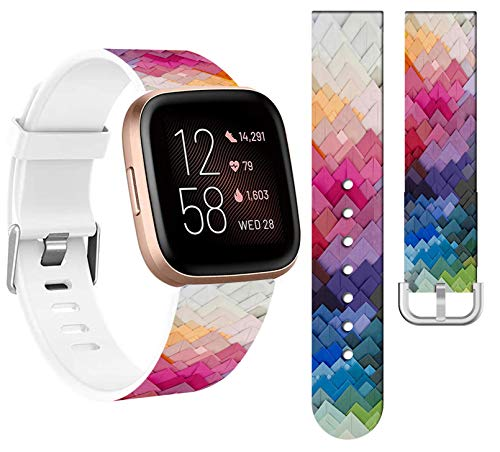 Bands for Fitbit Versa 2 Silicone & Cisland Soft Thin Slim Print for Women Strap Replacement Compatible with Fitbit Versa/Versa 2/Versa Lite/SE Small + Rainbow Art