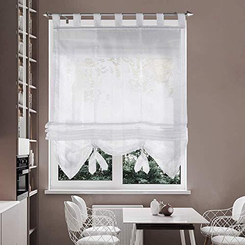 i@HOME Store bateau en voilage 60 x 155 cm avec passants pour fenêtre (blanc, 60 x 155 cm)